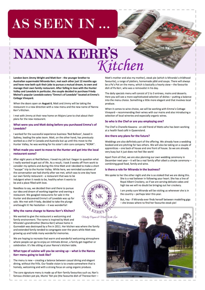 Nanna Kerr's Kitchen gets a fullpage in the August edition of The Hunter Blackboard and at http://www.huntervalleyonline.com.au